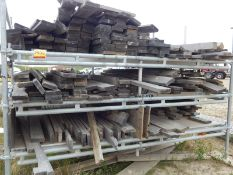 LOT/ SCAFFOLD RACK WITH CONTENTS CONSISTING OF PLANKING AND (6) LIFTS OF PLYWOOD PLANKING