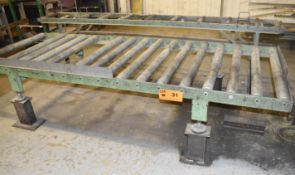 "LOT/ (2) OUTFEED ROLLER CONVEYORS 118""X44"" & 118""X16"" [RIGGING FEES FOR LOT #31 - $50 USD PLUS"