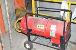 ELECTRIC PORTABLE DIRECT HEATER WITH FLEX DUCT, S/N N/A [RIGGING FEES FOR LOT #834 - $60 USD PLUS