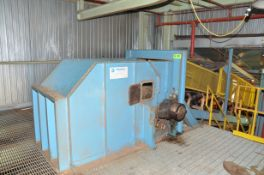 """DINGWELLS 44"""" X ' APROX. POWERED INCLINE BELT CONVEYOR WITH DISCHARGE CHUTE, S/N N/A [RIGGING FEES"""