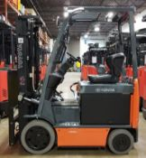 """TOYOTA (2015) 8FBCU20 48V ELECTRIC FORKLIFT WITH 4000 LB. CAPACITY, 189"""" MAX. VERTICAL LIFT, SIDE"""