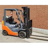 """TOYOTA (2015) 8FGCU25 LPG FORKLIFT WITH 5000 LB. CAPACITY, 189"""" MAX. VERTICAL LIFT, SIDE SHIFT,"""