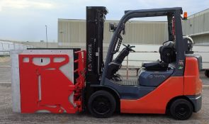 """TOYOTA (2010) 8FGCU25 LPG FORKLIFT WITH 5000 LB. CAPACITY, 189"""" MAX. VERTICAL LIFT, SIDE SHIFT,"""