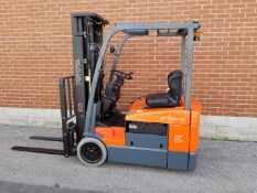 """TOYOTA (2011) 7FBEU15 36V 3-WHEEL ELECTRIC FORKLIFT WITH 3000 LB. CAPACITY, 189"""" MAX. VERTICAL LIFT,"""
