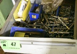 LOT/ CONTENTS OF DRAWER - STRAIGHT SHANK DRILLS & TIE-DOWN CLAMPING