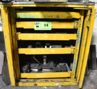 """LOT/ CABINET WITH PIPE BENDER TOOLING - COLLETS AND DIES: OD 0.23""""X0.039"""" WALL TO OD 1.5""""X0.11"""" WALL"""