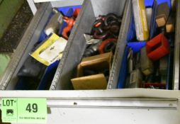 LOT/ CONTENTS OF DRAWER - END MILLS, EYE BOLTS, LIFTING SHACKLES & SHOP SUPPLIES