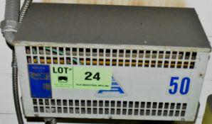 DELTA TRANSFORMER WITH 50 KVA, 460LV, 600HV, 3 PH (CI) [RIGGING FEES FOR LOT #24 - $50 CDN - PLUS
