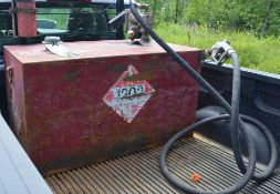 FUEL TANK WITH METERED DISPENSING PUMP WITH HOSE AND GUN, S/N N/A