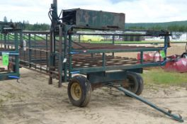 ARTIS 8'X25' FARM FLAT DECK TRAILER WITH TRAVERSING LOADER IMPLEMENT, S/N VIN N/A (FARM TRAILER -