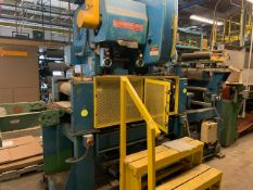 """EW BLISS C-45 GAP FRAME OBI PUNCH PRESS WITH 45 TON CAPACITY, 29""""X17"""" BED, INFEED CONVEYOR AND"""