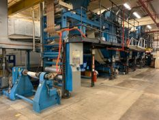 """ROTOMEC ROTOGRAVURE APPROX. 35"""" 4 COLOUR PRINTING PRESS WITH OPERATOR CONTROLS, UNWINDER, WINDER AND"""