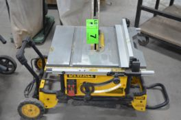"""DEWALT 10"""" PORTABLE TABLE SAW WITH STAND, S/N N/A"""