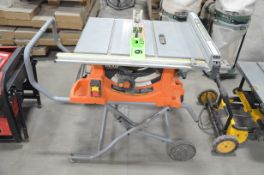 """RIDGID R4513 10"""" PORTABLE TABLE SAW WITH STAND, S/N GW17384DC07546"""
