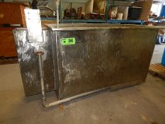 "STAINLESS STEEL 1800L SLANT BOTTOM PLATING TANK WITH 74""L X 36""W X 42""H WORK AREA, FILTER BERM,"