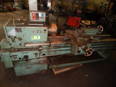 "TOS SN55B ENGINE LATHE WITH 20"" SWING OVER BED, 66"" DISTANCE BETWEEN CENTERS, 3"" SPINDLE BORE,"