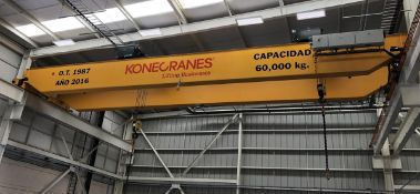 KONE (2016) 60 TON CAPACITY TOP RUNNING DOUBLE GIRDER OVERHEAD BRIDGE CRANE WITH (2) KONE 30 TON