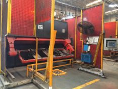 LOT/ OP 10-1 ABB-MILLER (2013) ROBOTIC WELDING CELL CONSISTING OF (2) ABB IRC-5 M2004 WELDING ROBOTS