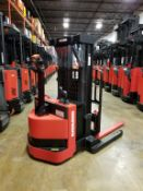 """RAYMOND (2013) RSS40 24V WALK-BEHIND ELECTRIC PALLET STACKER WITH 4000 LB. CAPACITY, 150"""" MAX."""