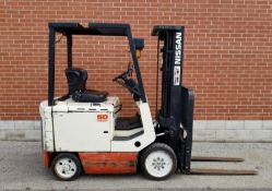 """NISSAN CYM02L25S 48V ELECTRIC FORKLIFT WITH 4400 LB. CAPACITY, 187"""" MAX. VERTICAL LIFT, CUSHION"""