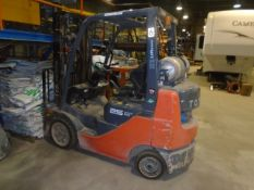 """TOYOTA 8FGCU25 LPG FORKLIFT WITH 4500 LB. CAPACITY, 189"""" MAX. VERTICAL LIFT, SIDE SHIFT, CUSHION"""