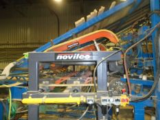 NOVILCO (2016) DOUBLE GATE SYSTEM WITH (2) PNEUMATIC BIN SORTER TRAPS, 6' PUSH CHAIN MODULE WITH (5)