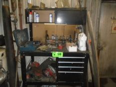 LOT/ 4 DRAWER WORK BENCH WITH CONTENTS - ELECTRIC TOOLS, HAND TOOLS, SHOP SUPPLIES