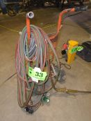 LOT/ OXY-ACETYLENE TANK CADDY WITH TORCH, GAUGES & HOSE