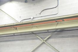 LOT/ APPROX. 150' FREESTANDING CRANE RUNWAY WITH UPRIGHTS, TOP RAIL AND BUSS BAR, S/N N/A [RIGGING