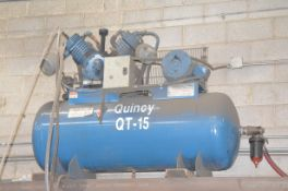 QUINCY QT15-120 2-STAGE TANK MOUNTED PISTON TYPE AIR COMPRESSOR WITH 15HP, MAX 120 PSI CAPACITY,