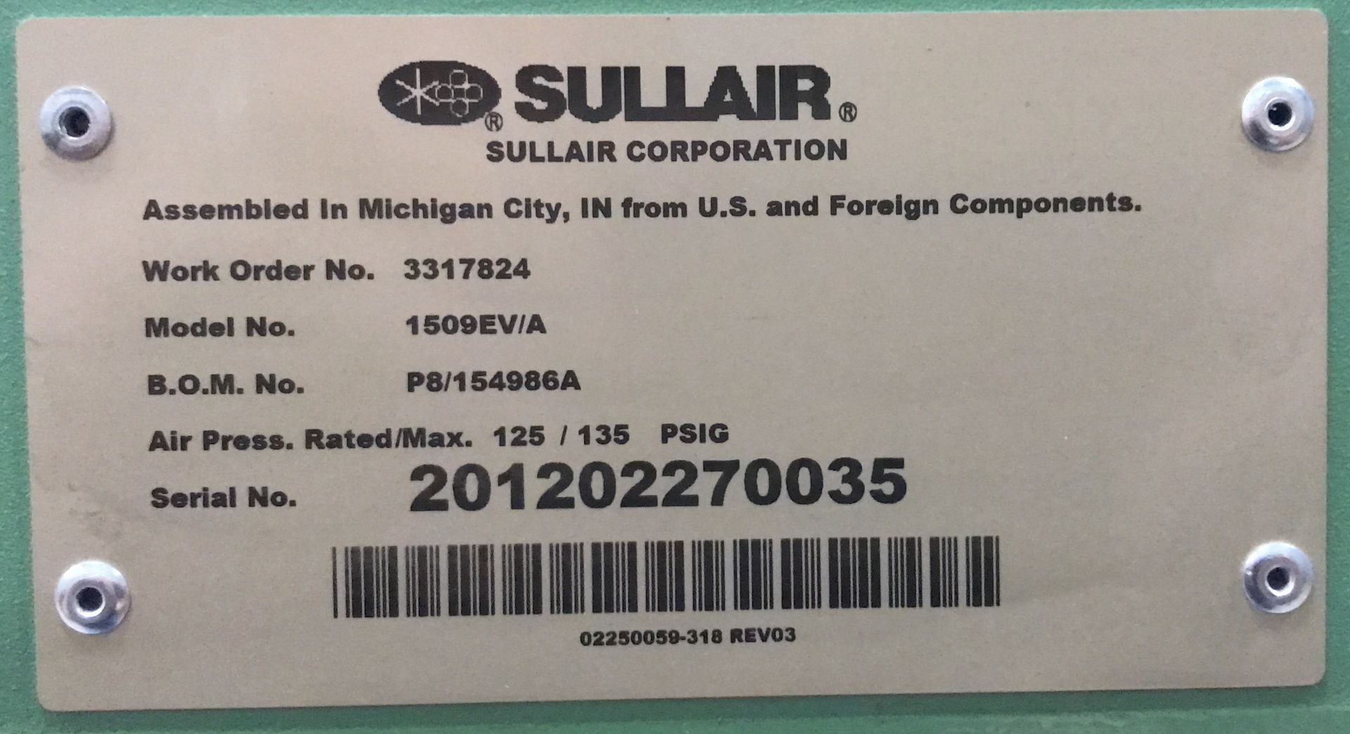 SULLAIR (2012) 1509EV/A 20 HP ROTARY SCREW AIR COMPRESSOR WITH 125 PSIG, 80.9 ACFM, S/N: - Image 2 of 2
