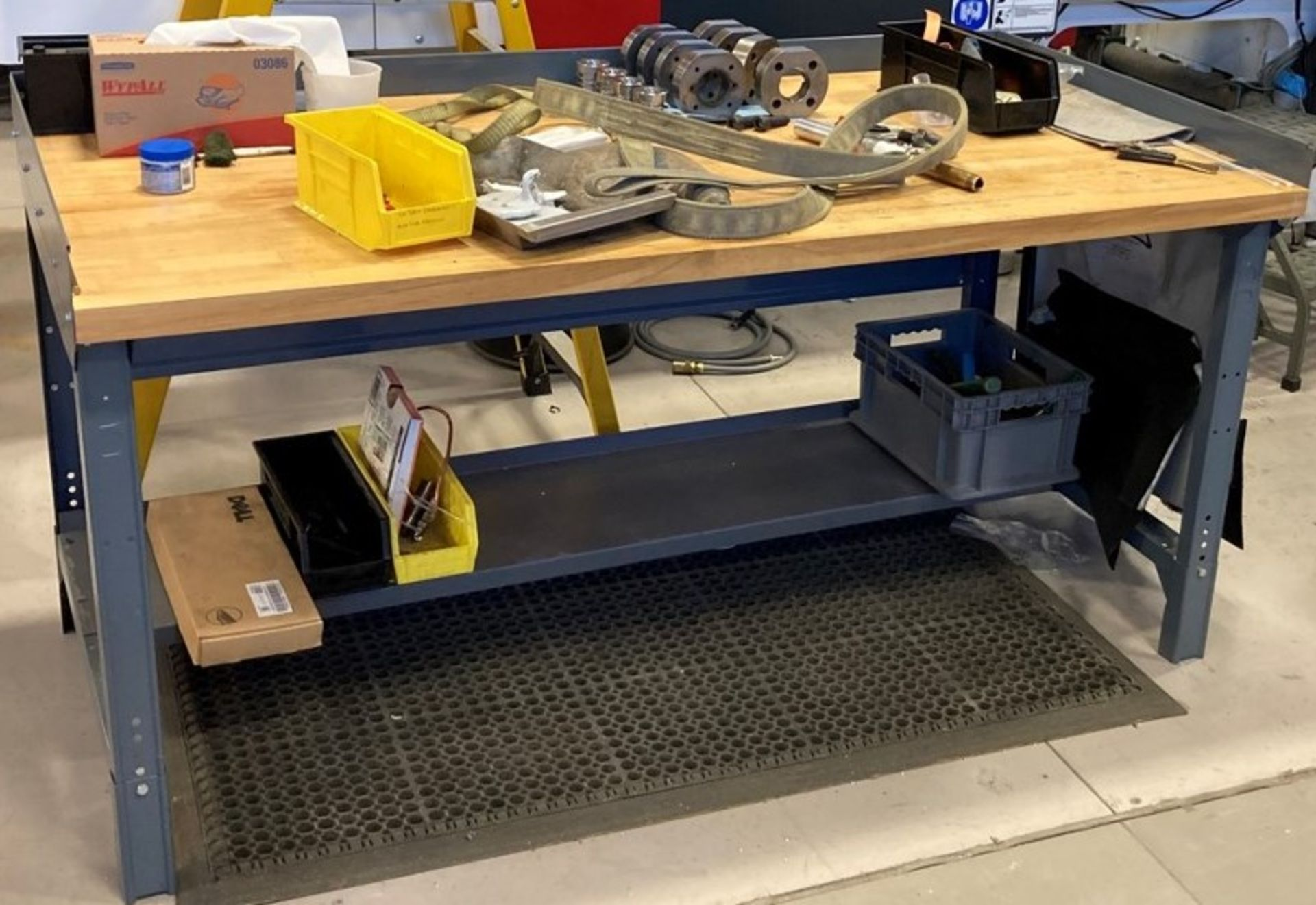 BUTCHER BLOCK TOP WORK BENCH (NO CONTENTS) [RIGGING FEES FOR LOT# 42A - $25 USD PLUS APPLICABLE