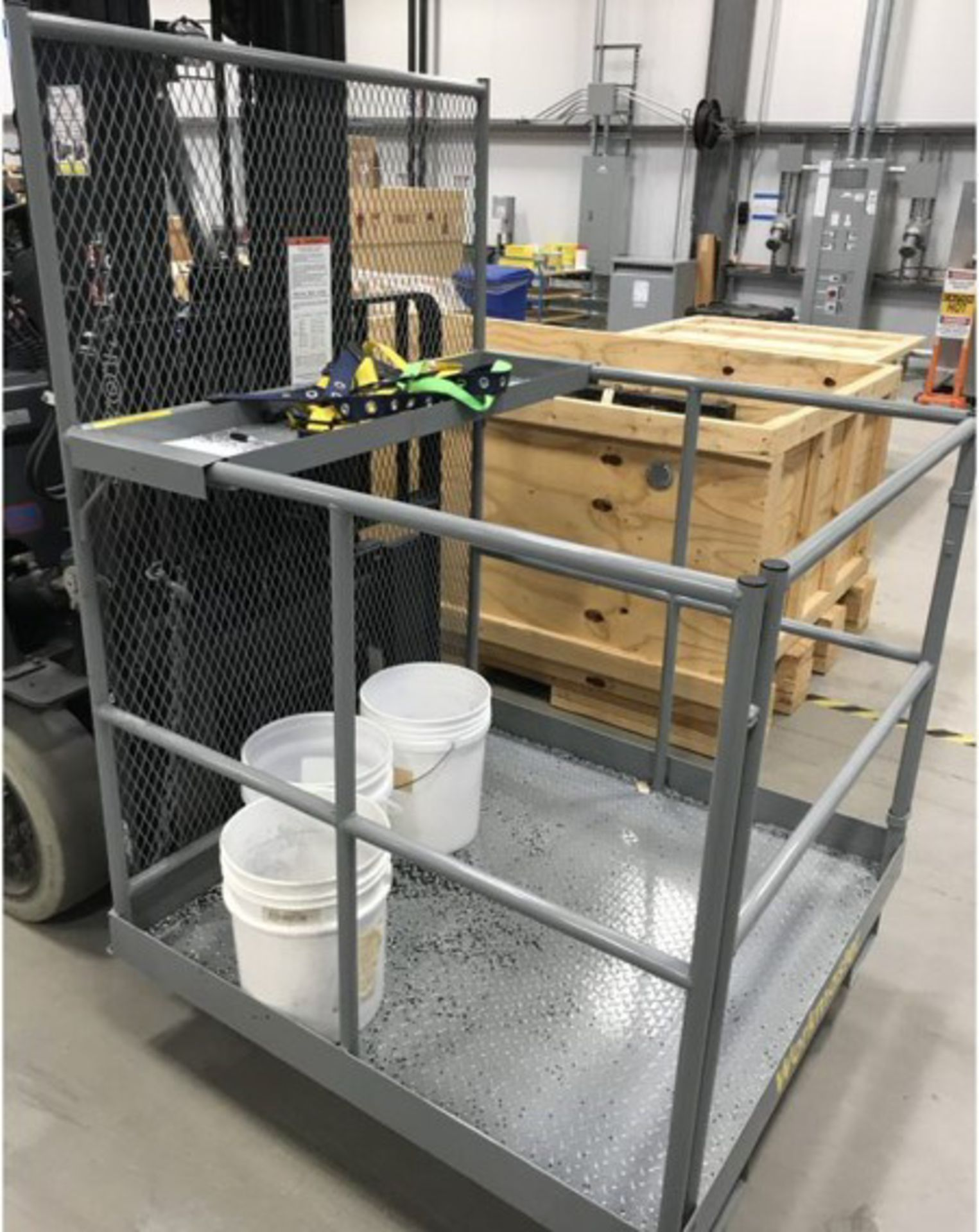 WORKMASTER WM104 1000 LB. CAPACITY OVERHEAD WORK PLATFORM [RIGGING FEES FOR LOT# 25 - $25 USD PLUS
