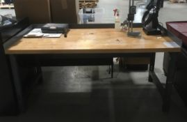 BUTCHER BLOCK TOP WORK BENCH (NO CONTENTS)