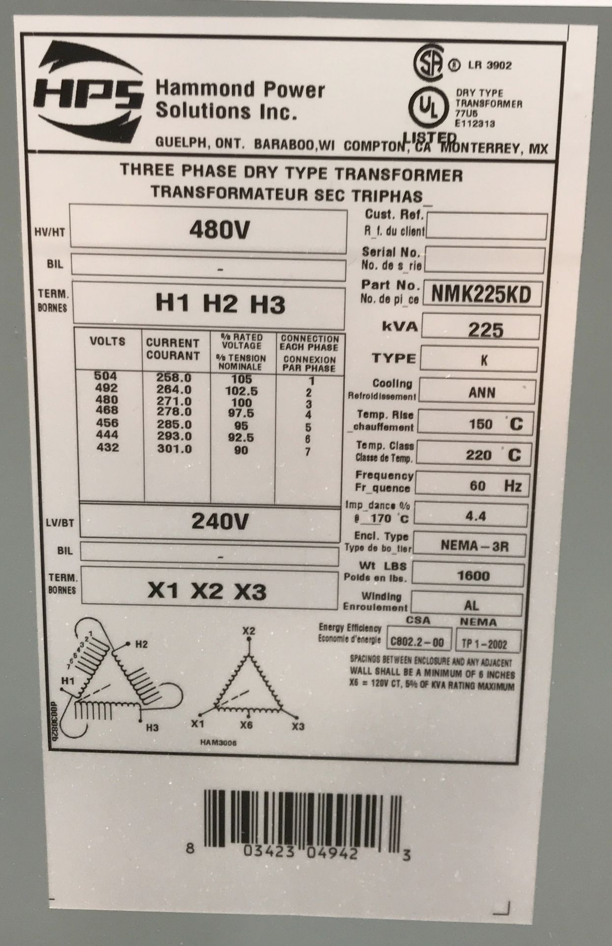 HAMMOND TRANSFORMER 225 KVA, 480V/240V, 3 PHASE [RIGGING FEES FOR LOT# 34 - $50 USD PLUS - Image 2 of 2