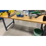 BUTCHER BLOCK TOP WORK BENCH (NO CONTENTS) [RIGGING FEES FOR LOT# 42C - $25 USD PLUS APPLICABLE