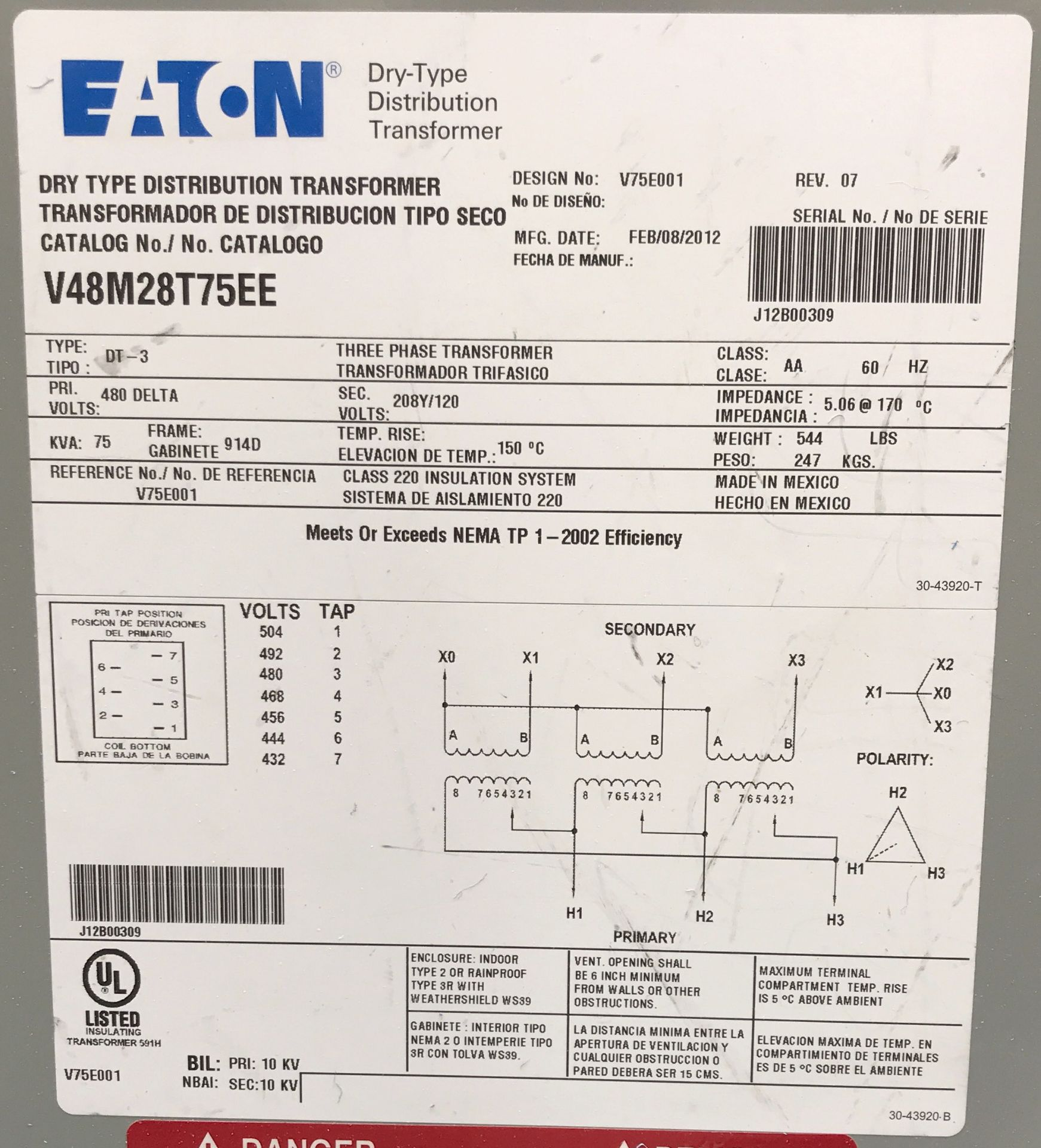 EATON TRANSFORMER 75 KVA, 480V/219V, 3 PHASE [RIGGING FEES FOR LOT# 37 - $50 USD PLUS APPLICABLE - Image 2 of 2