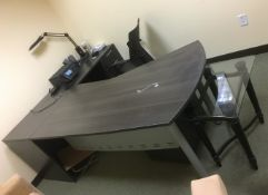 LOT/ L-SHAPED DESK WITH OFFICE CHAIR AND LAMP (NO PHONE, NO CONTENTS)
