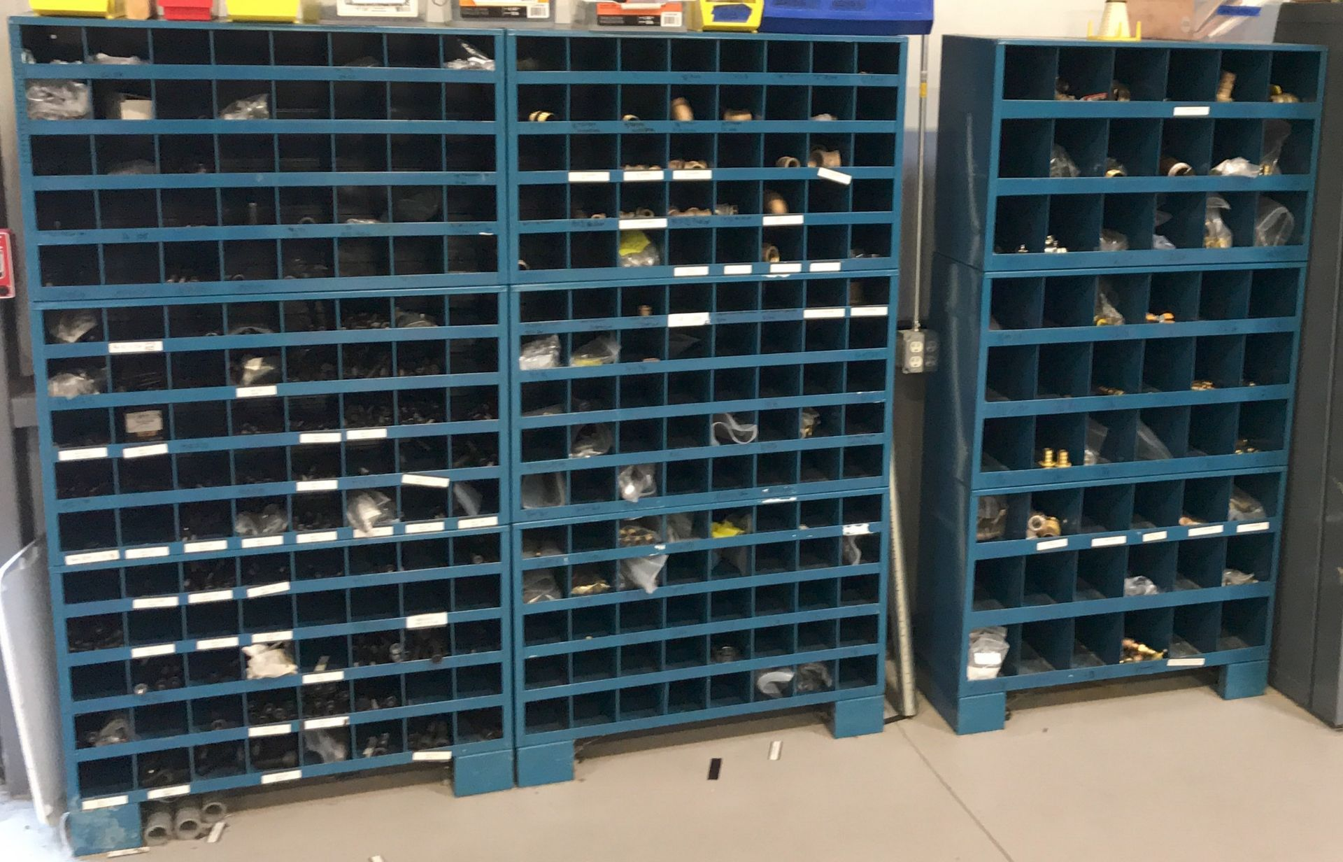 LOT/ PIGEON HOLE TYPE HARDWARE STORAGE CABINETS (NO CONTENTS) [RIGGING FEES FOR LOT# 42 - $100 USD