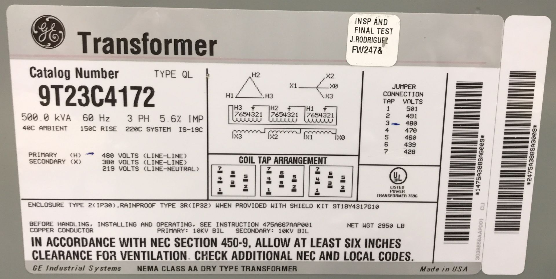 GE TRANSFORMER 500 KVA, 480V/219V, 3 PHASE [RIGGING FEES FOR LOT# 35 - $50 USD PLUS APPLICABLE - Image 2 of 2