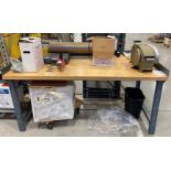BUTCHER BLOCK TOP WORK BENCH (NO CONTENTS) [RIGGING FEES FOR LOT# 42B - $25 USD PLUS APPLICABLE