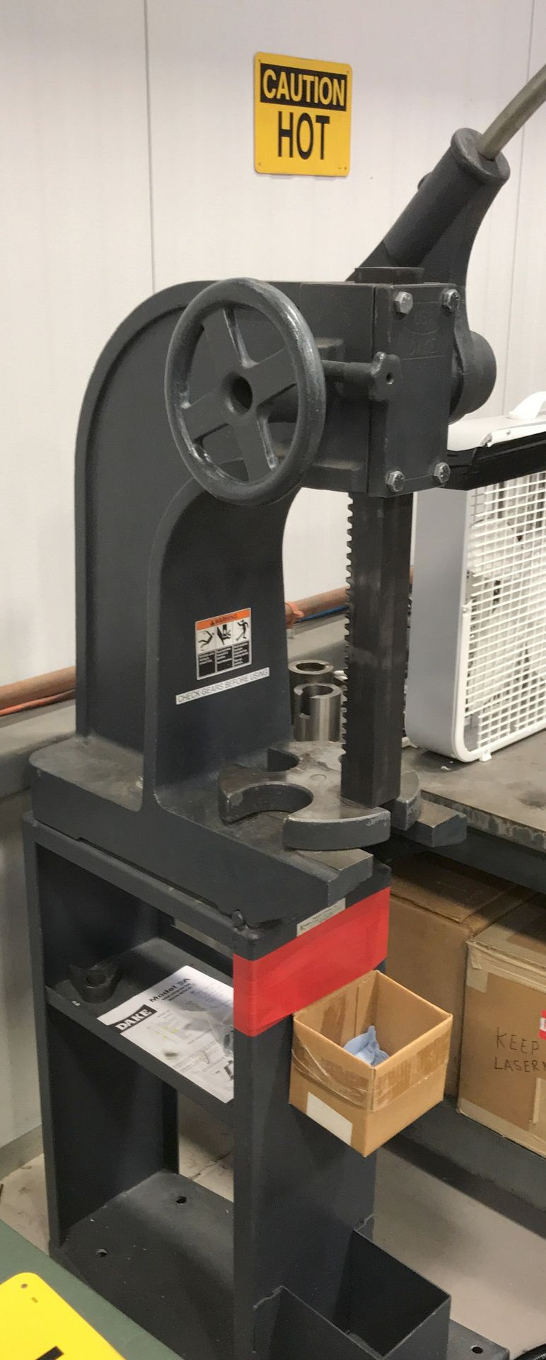 DAKE ARBOR PRESS WITH STAND [RIGGING FEES FOR LOT# 3 - $25 USD PLUS APPLICABLE TAXES]