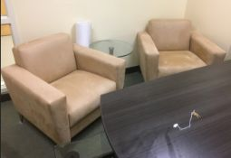 LOT/ (2) ARM CHAIRS WITH GLASS END TABLE