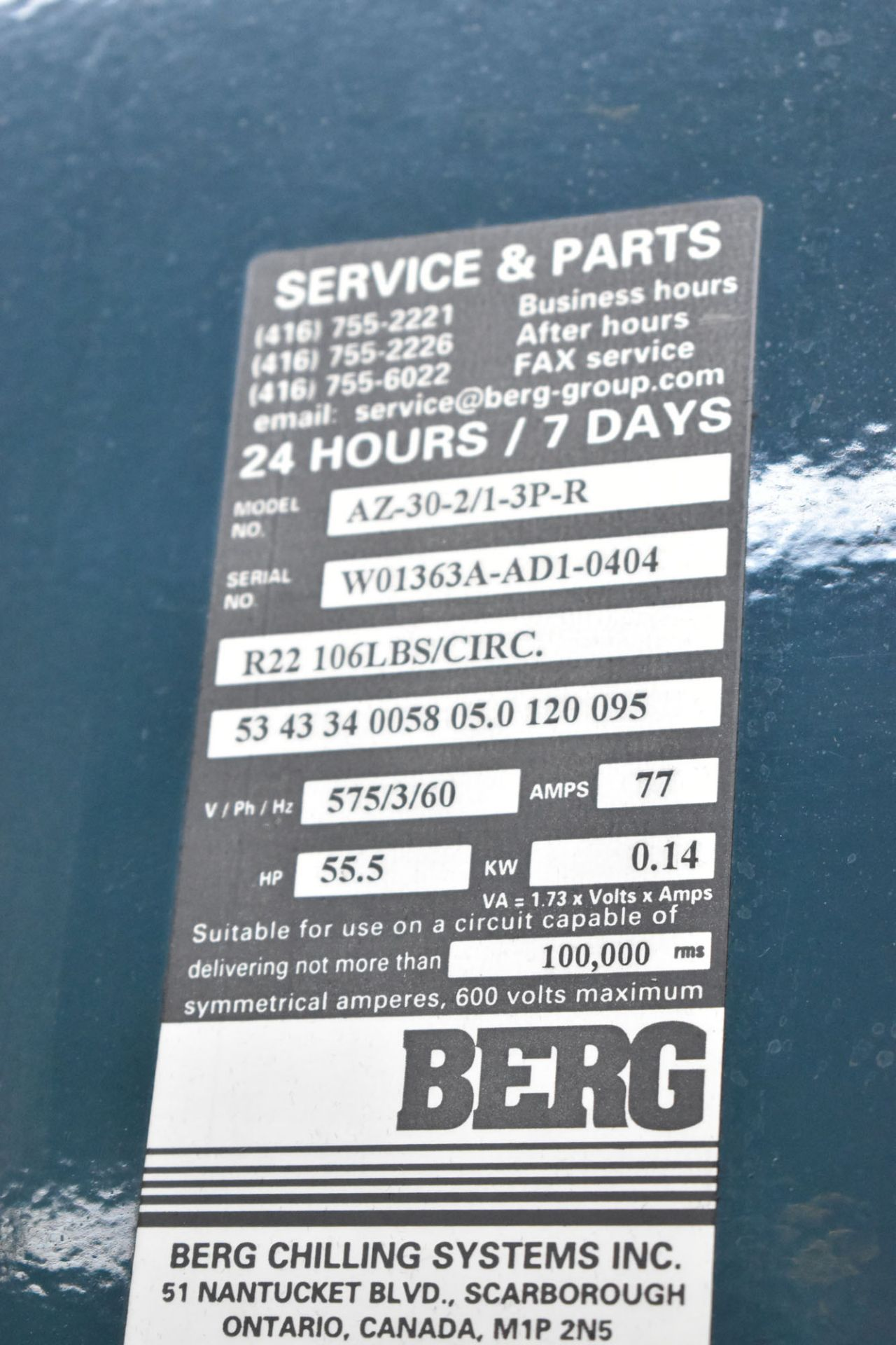 BERG AZ-30-2/1-3P-R SKID MOUNTED INDUSTRIAL CHILLER WITH 30 TON CAPACITY, 55 HP, BERG SC6 TOUCH- - Image 6 of 6