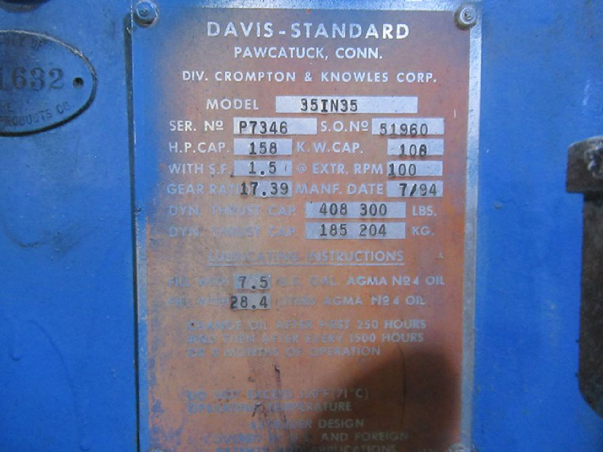 """DAVIS STANDARD 35IN35 3.5"""" CAPACITY SINGLE SCREW PLASTIC EXTRUDER WITH 158 HP RATED GEARBOX, 17.39:1 - Image 6 of 10"""
