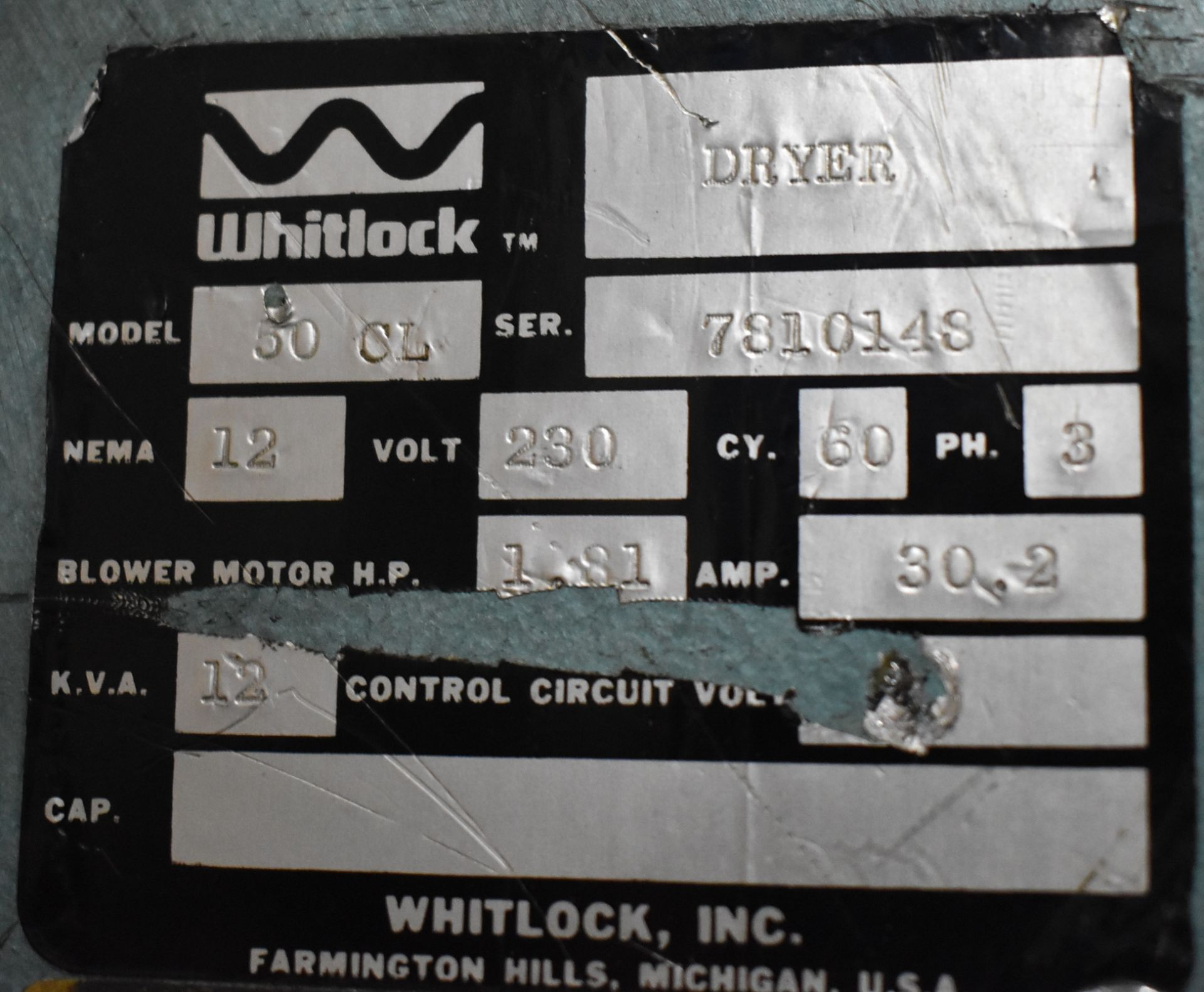 WHITLOCK 50CL DEHUMIDIFYING DRYER, S/N: 7810148 (LOCATED IN BRAMPTON, ON) [RIGGING FEES FOR LOT #106 - Image 3 of 3