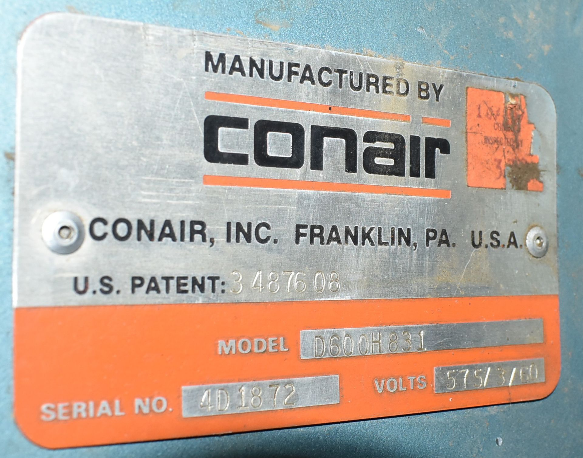CONAIR D600H831 DEHUMIDIFYING DRYER, S/N: 4D1872 (LOCATED IN BRAMPTON, ON) [RIGGING FEES FOR LOT # - Image 4 of 4