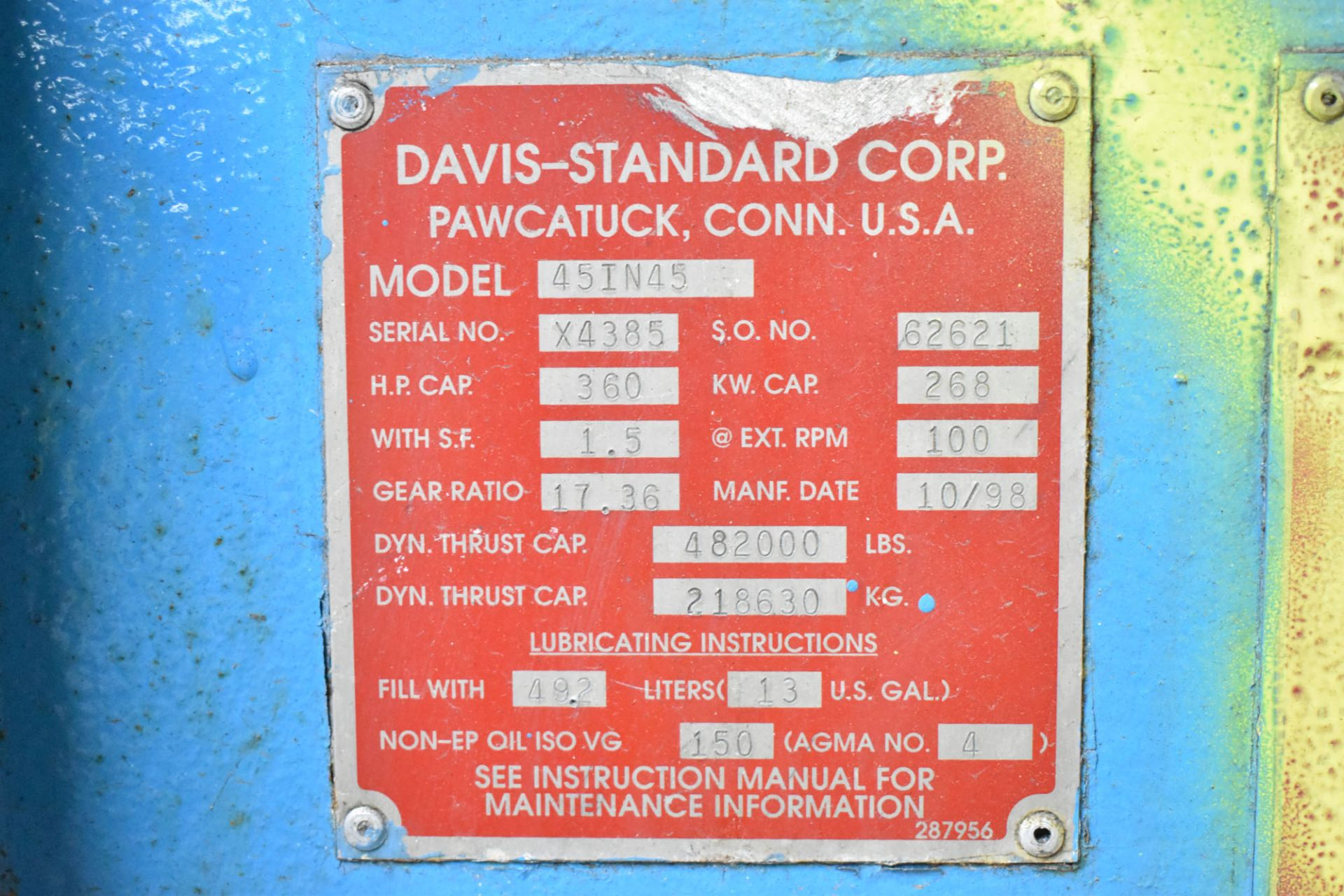 "DAVIS STANDARD (2003) 45IN45H 4.5"" CAPACITY SINGLE SCREW PLASTIC EXTRUDER WITH 360 HP RATED GEARBOX, - Image 6 of 6"