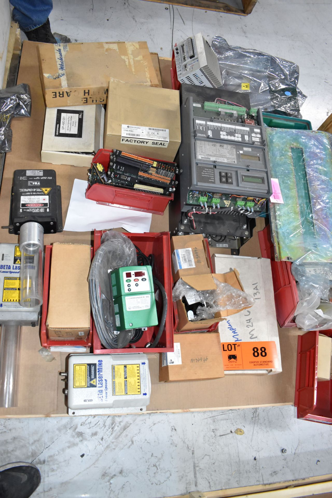 LOT/ PALLET WITH CONTENTS CONSISTING OF ELECTRICAL PANELS, PARTS, AND EXTRUDER LINE COMPONENTS [