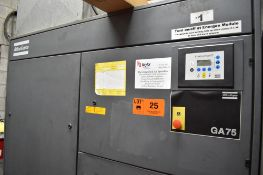 ATLAS COPCO GA75 100 HP ROTARY SCREW AIR COMPRESSOR, S/N: AII466343 (CI) [RIGGING FEES FOR LOT #25 -
